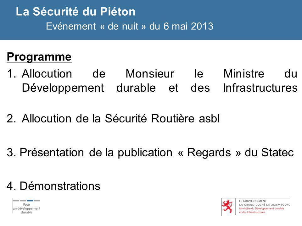 La Sécurité du Piéton Evénement « de nuit » du 6 mai 2013 Programme 1.Allocution de Monsieur le Ministre du Développement durable et des Infrastructur