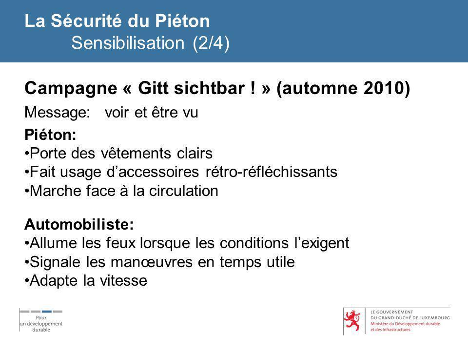 La Sécurité du Piéton Sensibilisation (2/4) Campagne « Gitt sichtbar ! » (automne 2010) Message: voir et être vu Piéton: Porte des vêtements clairs Fa