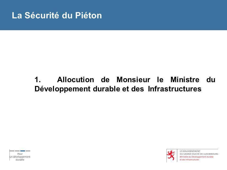 La Sécurité du Piéton 1. Allocution de Monsieur le Ministre du Développement durable et des Infrastructures