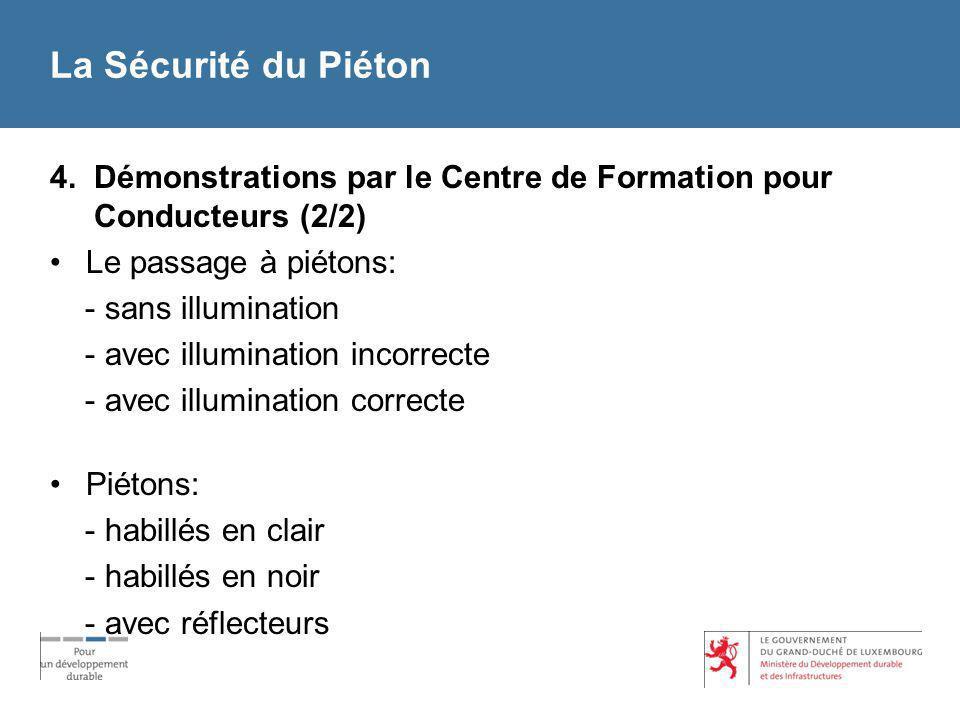 La Sécurité du Piéton 4. Démonstrations par le Centre de Formation pour Conducteurs (2/2) Le passage à piétons: - sans illumination - avec illuminatio