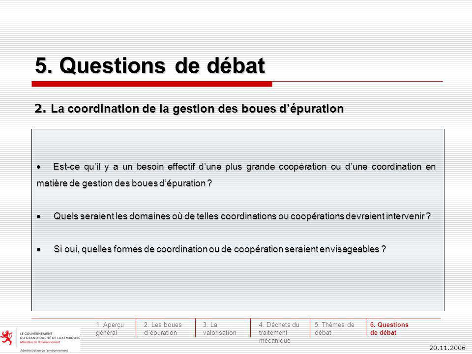 20.11.2006 5. Questions de débat 2. La coordination de la gestion des boues dépuration Est-ce quil y a un besoin effectif dune plus grande coopération