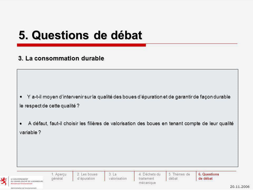 20.11.2006 5. Questions de débat Y a-t-il moyen dintervenir sur la qualité des boues dépuration et de garantir de façon durable le respect de cette qu
