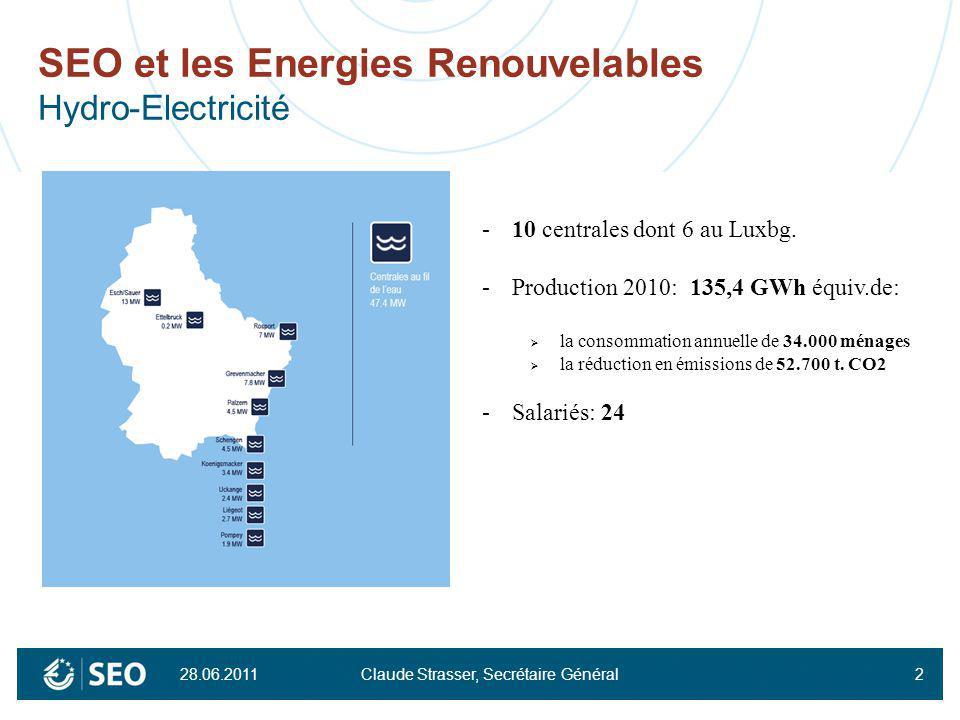 2 SEO et les Energies Renouvelables Hydro-Electricité -10 centrales dont 6 au Luxbg. -Production 2010: 135,4 GWh équiv.de: la consommation annuelle de
