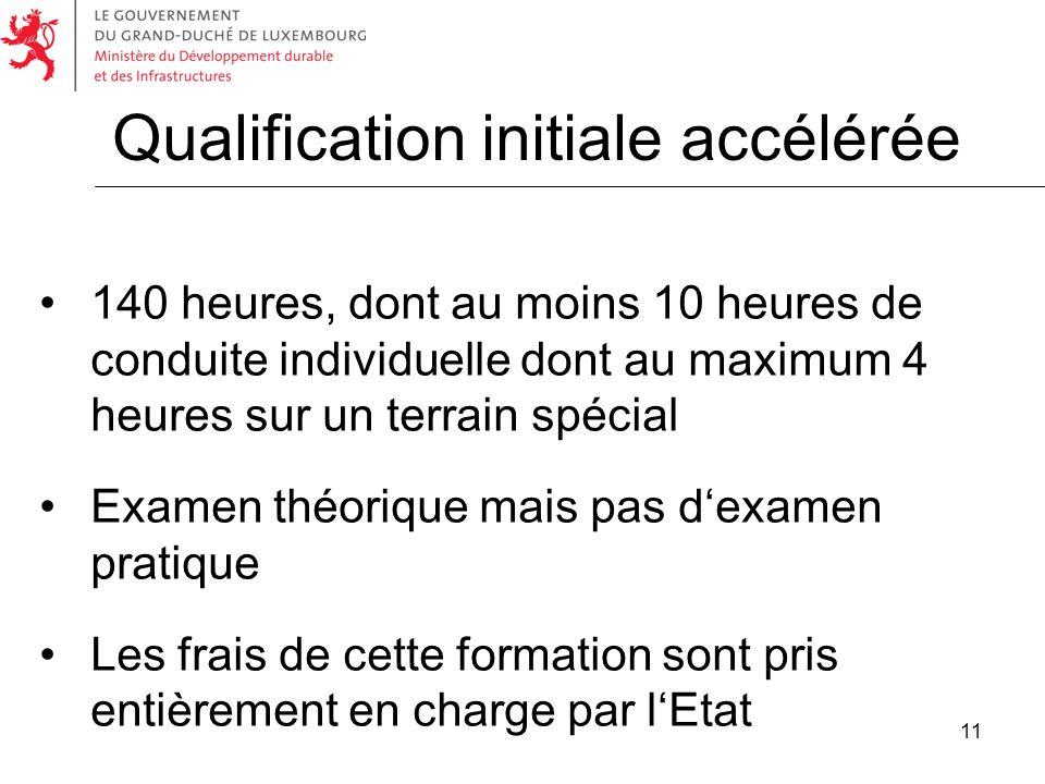 11 Qualification initiale accélérée 140 heures, dont au moins 10 heures de conduite individuelle dont au maximum 4 heures sur un terrain spécial Exame