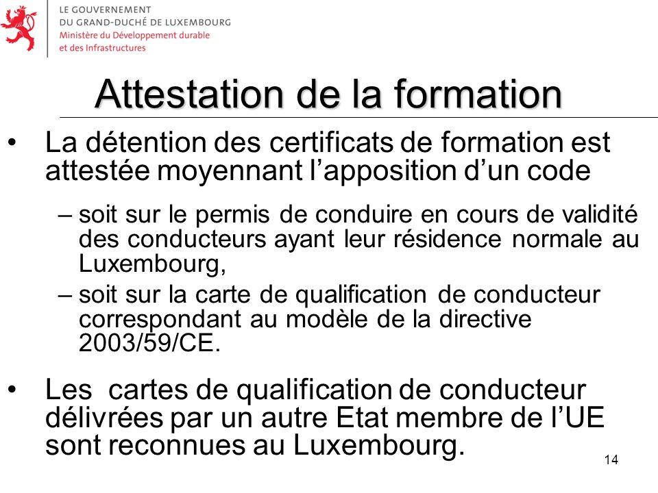 14 La détention des certificats de formation est attestée moyennant lapposition dun code –soit sur le permis de conduire en cours de validité des cond