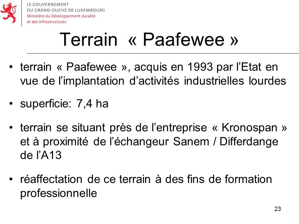 23 Terrain « Paafewee » terrain « Paafewee », acquis en 1993 par lEtat en vue de limplantation dactivités industrielles lourdes superficie: 7,4 ha ter