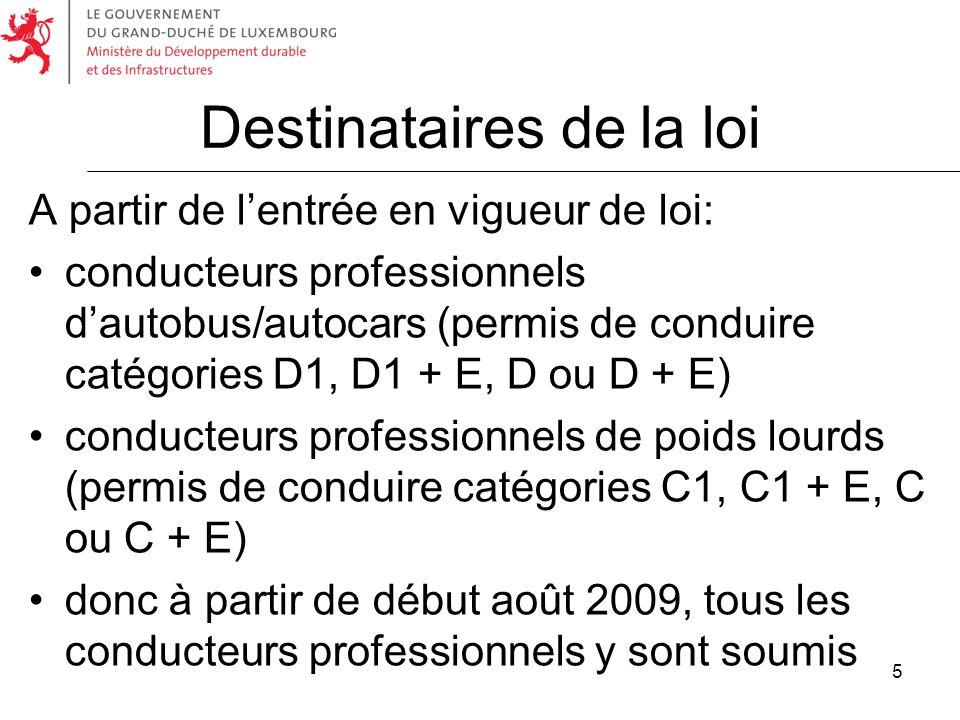 5 Destinataires de la loi A partir de lentrée en vigueur de loi: conducteurs professionnels dautobus/autocars (permis de conduire catégories D1, D1 +