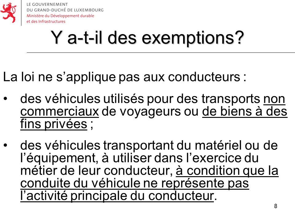 8 La loi ne sapplique pas aux conducteurs : des véhicules utilisés pour des transports non commerciaux de voyageurs ou de biens à des fins privées ; d