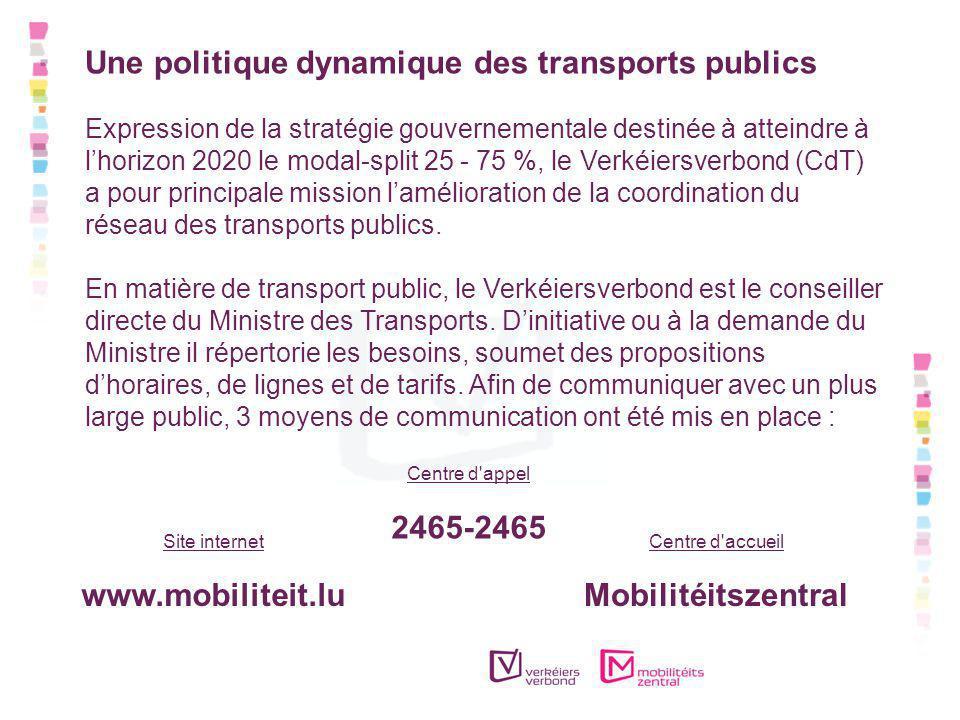 Une politique dynamique des transports publics Expression de la stratégie gouvernementale destinée à atteindre à lhorizon 2020 le modal-split 25 - 75 %, le Verkéiersverbond (CdT) a pour principale mission lamélioration de la coordination du réseau des transports publics.