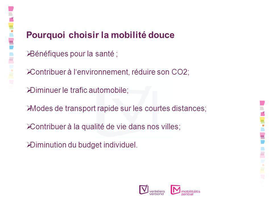 Pourquoi choisir la mobilité douce Bénéfiques pour la santé ; Contribuer à lenvironnement, réduire son CO2; Diminuer le trafic automobile; Modes de transport rapide sur les courtes distances; Contribuer à la qualité de vie dans nos villes; Diminution du budget individuel.