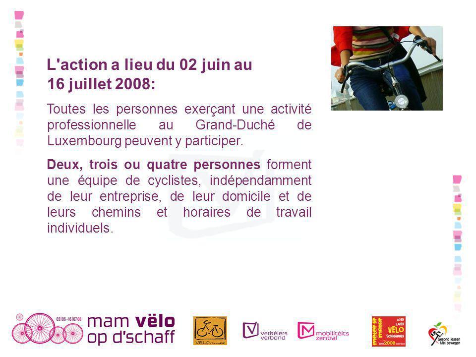 L action a lieu du 02 juin au 16 juillet 2008: Toutes les personnes exerçant une activité professionnelle au Grand-Duché de Luxembourg peuvent y participer.