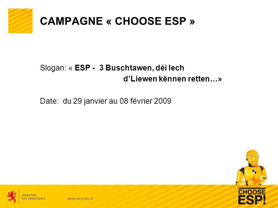 CAMPAGNE « CHOOSE ESP » Slogan: « ESP - 3 Buschtawen, déi Iech dLiewen kënnen retten…» Date: du 29 janvier au 08 février 2009