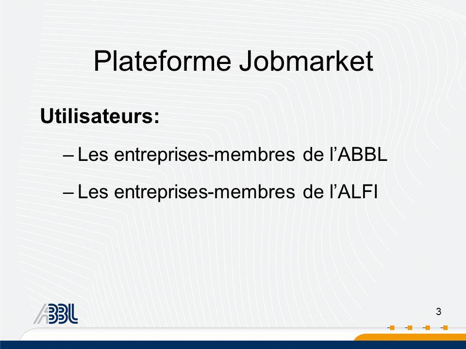 3 Plateforme Jobmarket Utilisateurs: –Les entreprises-membres de lABBL –Les entreprises-membres de lALFI