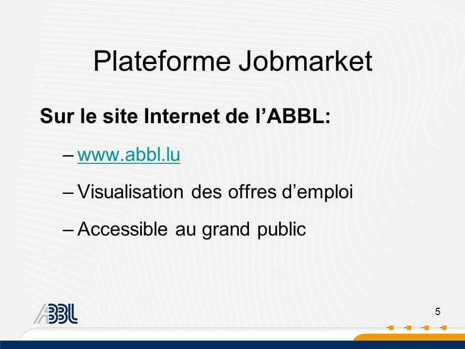 5 Sur le site Internet de lABBL: –www.abbl.luwww.abbl.lu –Visualisation des offres demploi –Accessible au grand public