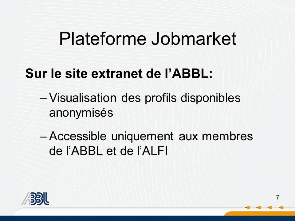 7 Plateforme Jobmarket Sur le site extranet de lABBL: –Visualisation des profils disponibles anonymisés –Accessible uniquement aux membres de lABBL et de lALFI
