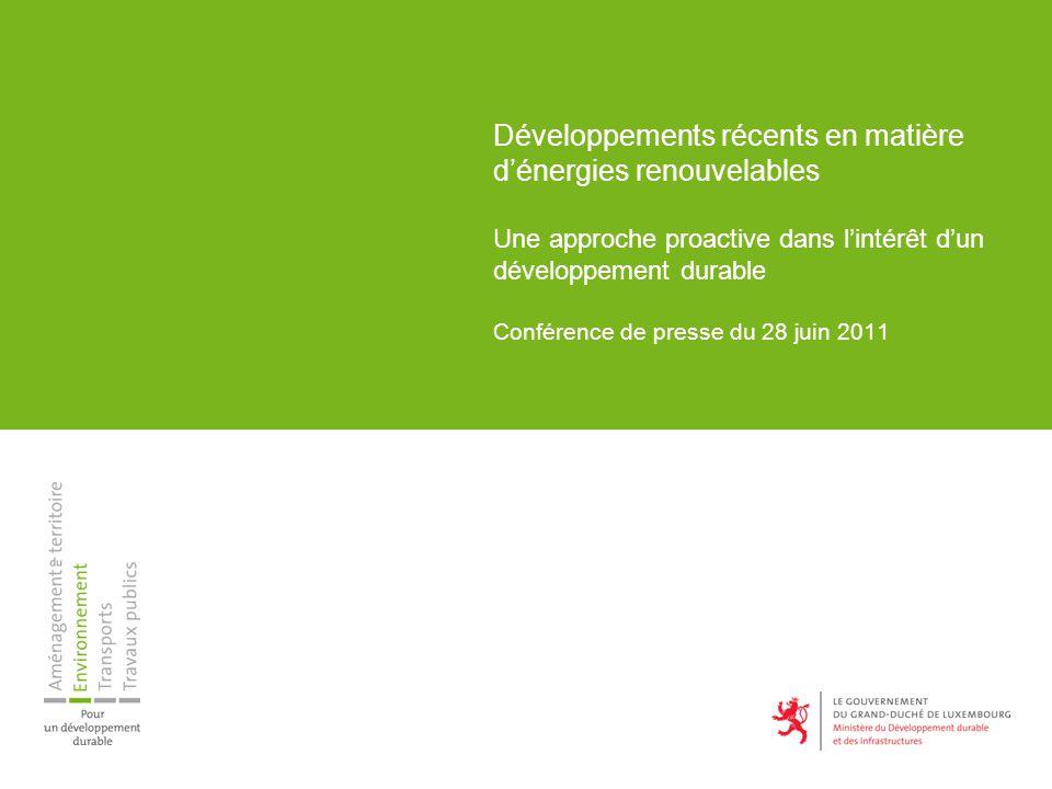 Développements récents en matière dénergies renouvelables Une approche proactive dans lintérêt dun développement durable Conférence de presse du 28 juin 2011