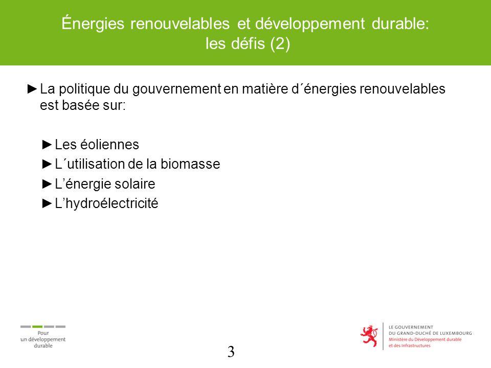 3 Énergies renouvelables et développement durable: les défis (2) La politique du gouvernement en matière d´énergies renouvelables est basée sur: Les éoliennes L´utilisation de la biomasse Lénergie solaire Lhydroélectricité