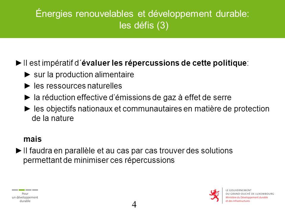 4 Énergies renouvelables et développement durable: les défis (3) Il est impératif d´évaluer les répercussions de cette politique: sur la production alimentaire les ressources naturelles la réduction effective démissions de gaz à effet de serre les objectifs nationaux et communautaires en matière de protection de la nature mais Il faudra en parallèle et au cas par cas trouver des solutions permettant de minimiser ces répercussions