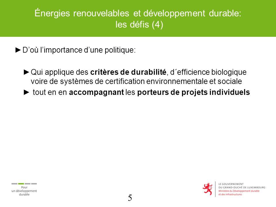 5 Énergies renouvelables et développement durable: les défis (4) Doù limportance dune politique: Qui applique des critères de durabilité, d´efficience biologique voire de systèmes de certification environnementale et sociale tout en en accompagnant les porteurs de projets individuels