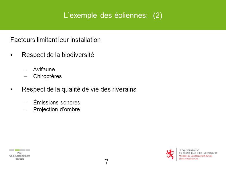 7 Lexemple des éoliennes: (2) Facteurs limitant leur installation Respect de la biodiversité –Avifaune –Chiroptères Respect de la qualité de vie des riverains –Émissions sonores –Projection dombre