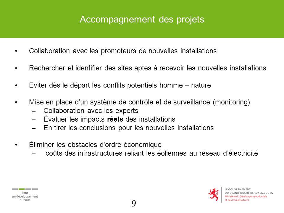 9 Accompagnement des projets Collaboration avec les promoteurs de nouvelles installations Rechercher et identifier des sites aptes à recevoir les nouv