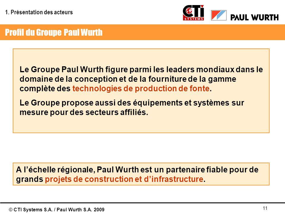 © CTI Systems S.A. / Paul Wurth S.A. 2009 11 Le Groupe Paul Wurth figure parmi les leaders mondiaux dans le domaine de la conception et de la fournitu