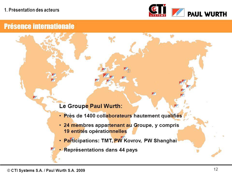 © CTI Systems S.A. / Paul Wurth S.A. 2009 12 Le Groupe Paul Wurth: Près de 1400 collaborateurs hautement qualifiés 24 membres appartenant au Groupe, y