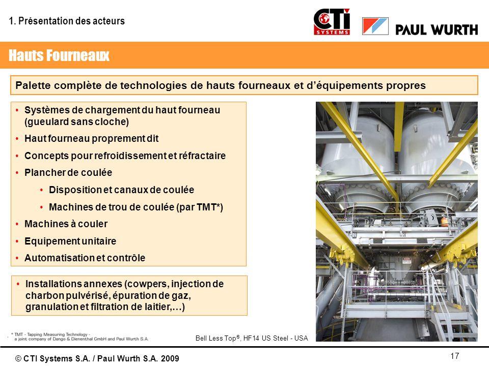 © CTI Systems S.A. / Paul Wurth S.A. 2009 17 Palette complète de technologies de hauts fourneaux et déquipements propres Systèmes de chargement du hau