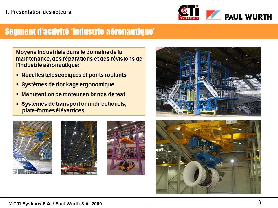 © CTI Systems S.A. / Paul Wurth S.A. 2009 8 Moyens industriels dans le domaine de la maintenance, des réparations et des révisions de lindustrie aéron