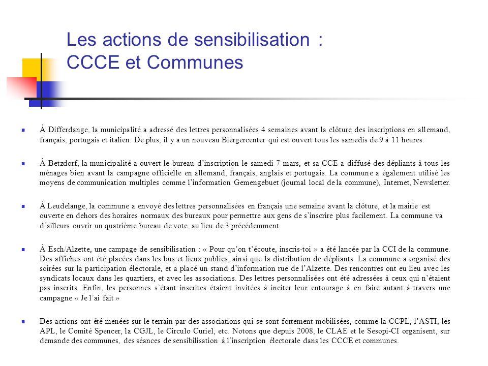 Les actions de sensibilisation : CCCE et Communes À Differdange, la municipalité a adressé des lettres personnalisées 4 semaines avant la clôture des inscriptions en allemand, français, portugais et italien.