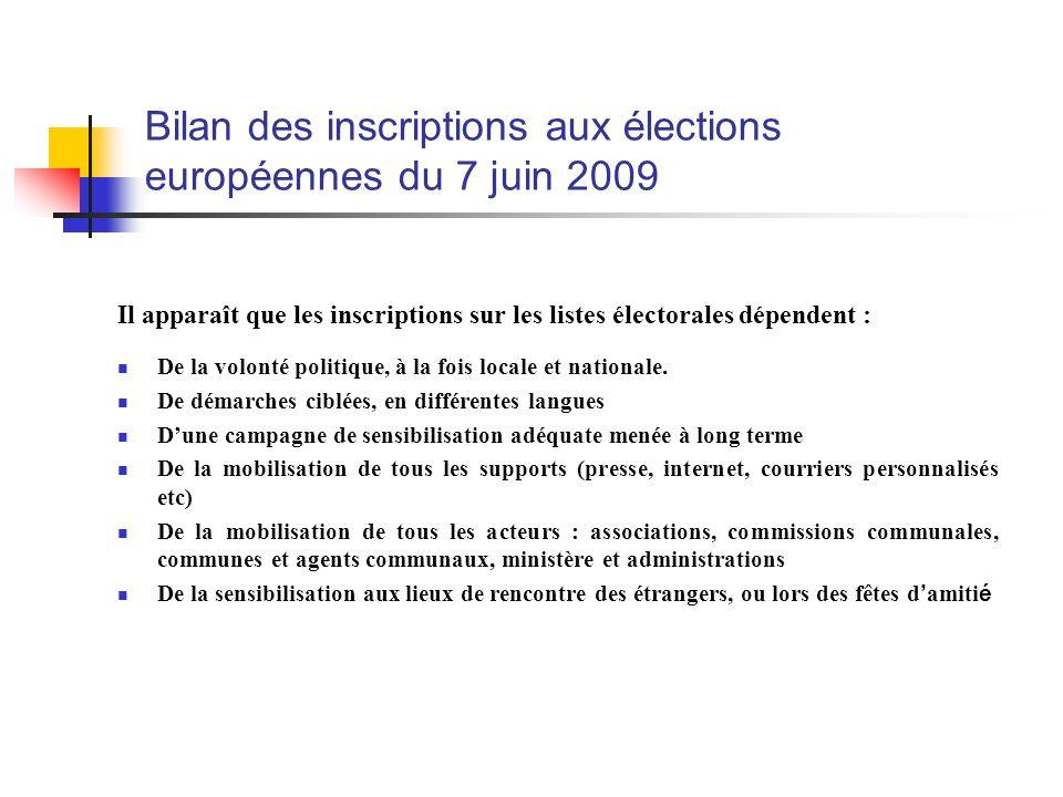 Il apparaît que les inscriptions sur les listes électorales dépendent : De la volonté politique, à la fois locale et nationale.