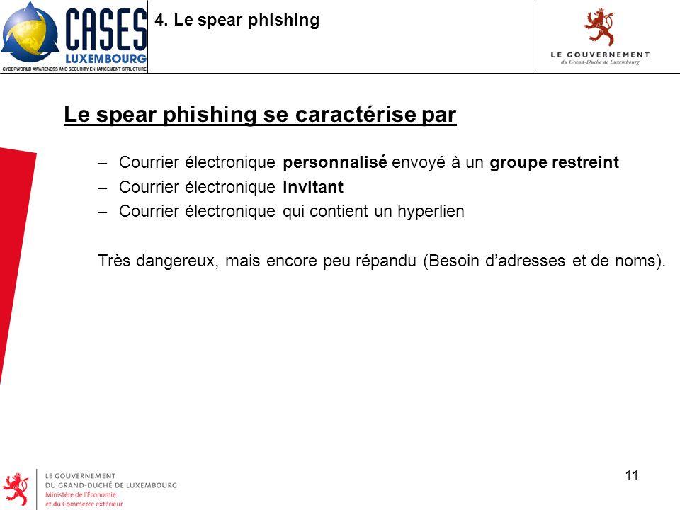 11 4. Le spear phishing Le spear phishing se caractérise par –Courrier électronique personnalisé envoyé à un groupe restreint –Courrier électronique i