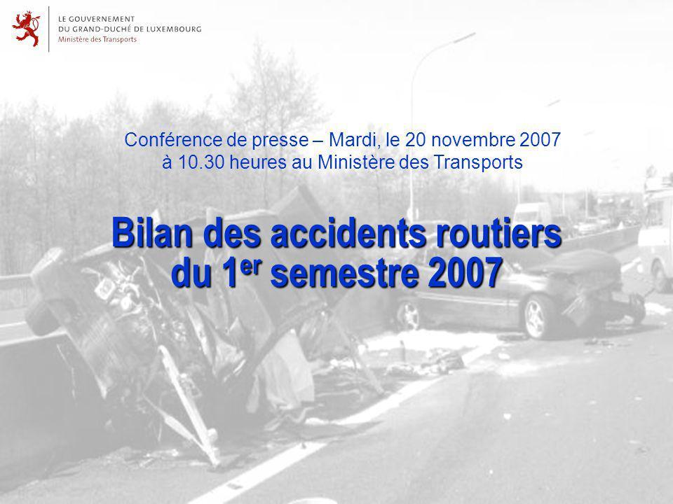 Conférence de presse – Mardi, le 20 novembre 2007 à 10.30 heures au Ministère des Transports Bilan des accidents routiers du 1 er semestre 2007