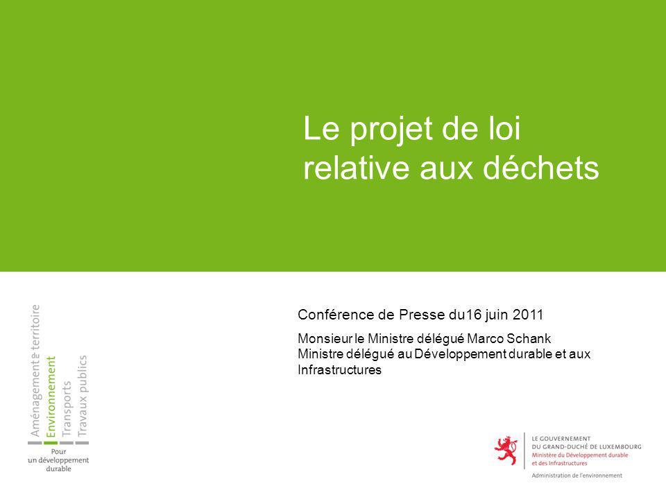 Le projet de loi relative aux déchets Conférence de Presse du16 juin 2011 Monsieur le Ministre délégué Marco Schank Ministre délégué au Développement