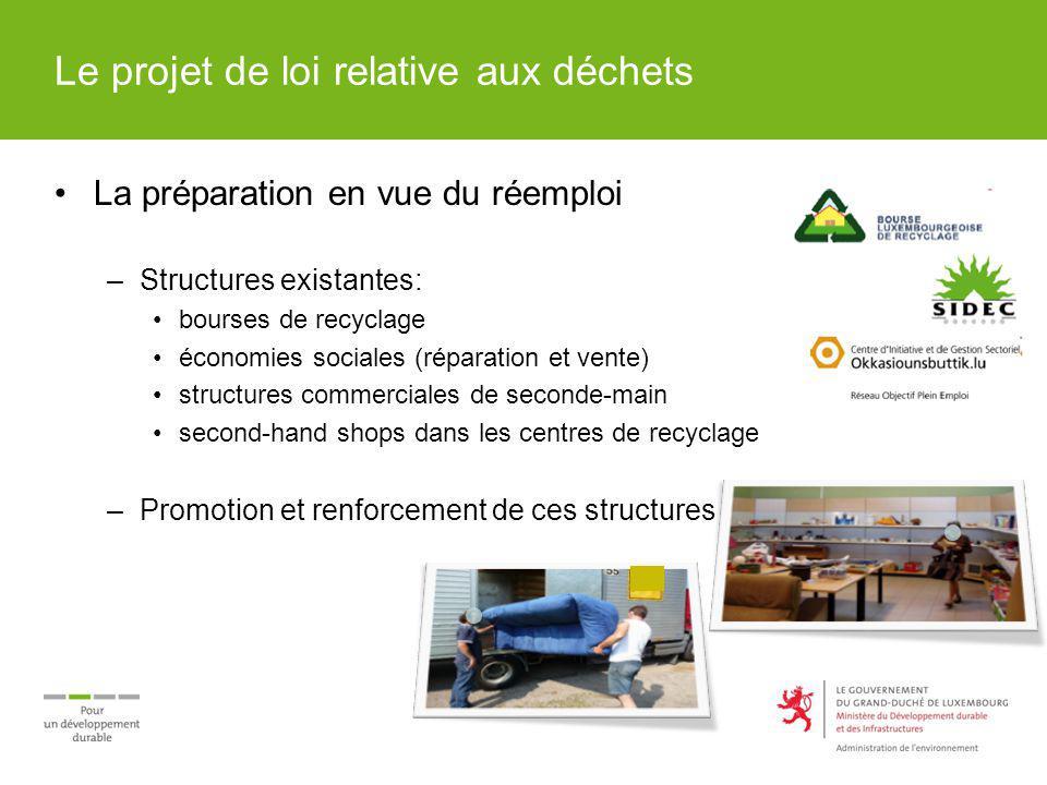 Le projet de loi relative aux déchets La préparation en vue du réemploi –Structures existantes: bourses de recyclage économies sociales (réparation et