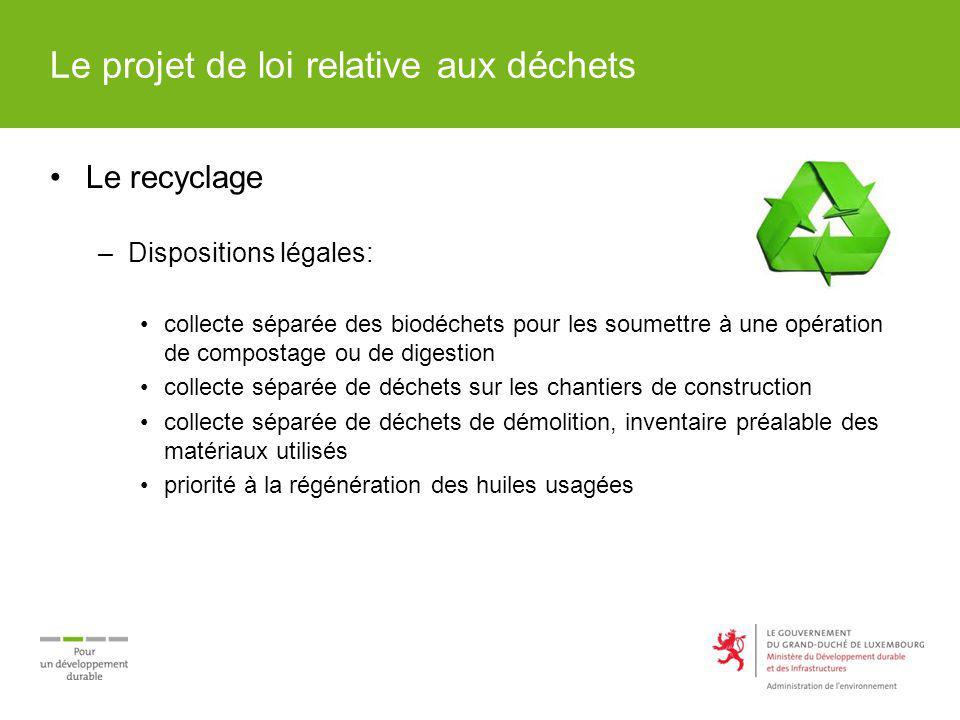 Le projet de loi relative aux déchets Le recyclage –Dispositions légales: collecte séparée des biodéchets pour les soumettre à une opération de compos