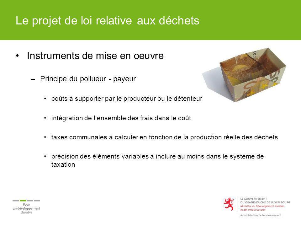 Le projet de loi relative aux déchets Instruments de mise en oeuvre –Principe du pollueur - payeur coûts à supporter par le producteur ou le détenteur