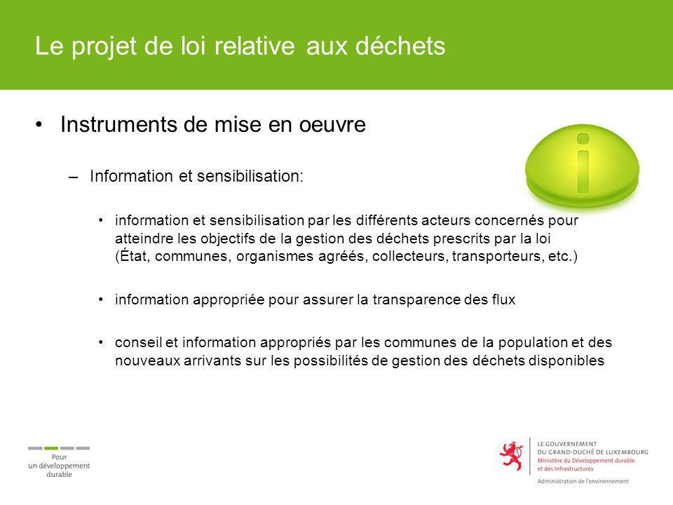Le projet de loi relative aux déchets Instruments de mise en oeuvre –Information et sensibilisation: information et sensibilisation par les différents