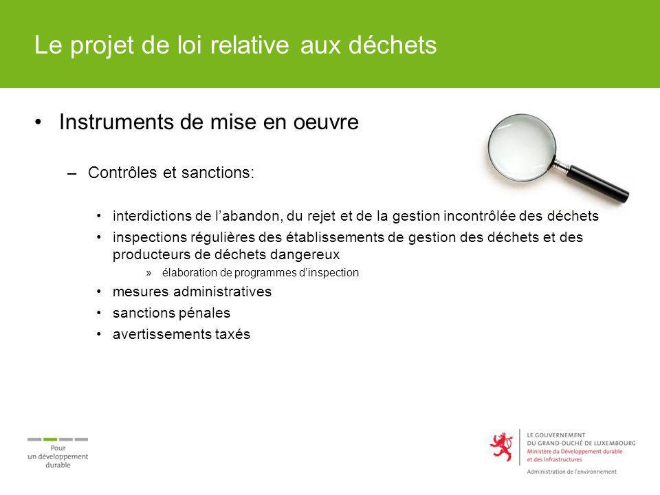 Le projet de loi relative aux déchets Instruments de mise en oeuvre –Contrôles et sanctions: interdictions de labandon, du rejet et de la gestion inco