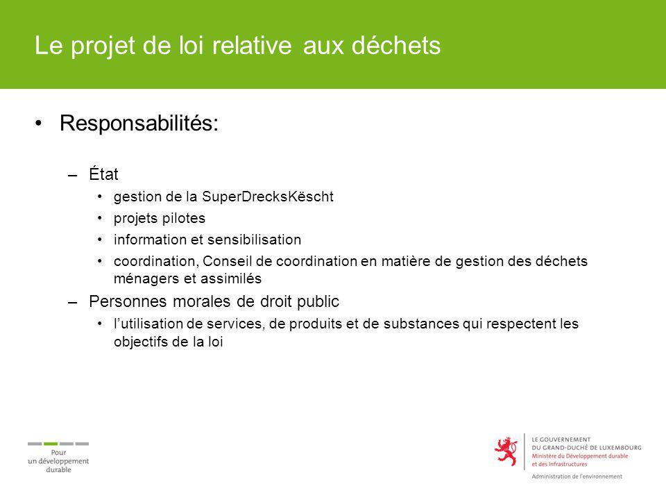 Le projet de loi relative aux déchets Responsabilités: –État gestion de la SuperDrecksKëscht projets pilotes information et sensibilisation coordinati