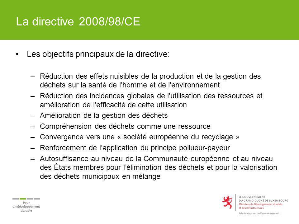 La directive 2008/98/CE Les éléments clés de la directive: –Notions de Sous-produits et de Fin du statut de déchets –Hiérarchie des déchets avec cinq niveaux –Régime de la responsabilité élargie des producteurs –Soumission des déchets à une opération de valorisation –Taux de préparation au remploi et de recyclage minimums en 2020 (déchets ménagers et assimilés: 50%, déchets de construction et de démolition: 70% ) –Application du principe du pollueur – payeur –Principes dautosuffisance et de proximité –Dispositions spécifiques pour certains déchets (déchets dangereux, huiles usagées, biodéchets ) –Plan de gestion des déchets et programmes de prévention –Inspections périodiques détablissements de gestion des déchets –Interdiction de labandon, du rejet ou de la gestion incontrôlée des déchets