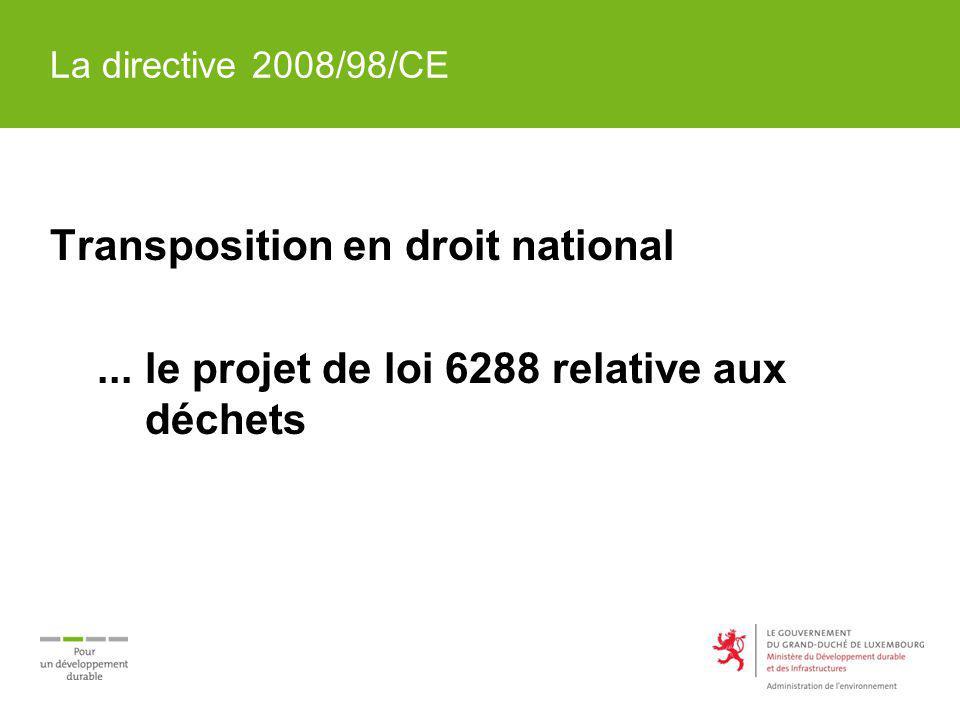 La directive 2008/98/CE Transposition en droit national... le projet de loi 6288 relative aux déchets