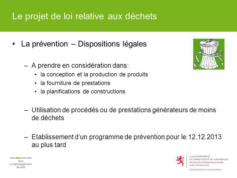 Le projet de loi relative aux déchets La prévention – Dispositions légales –A prendre en considération dans: la conception et la production de produit