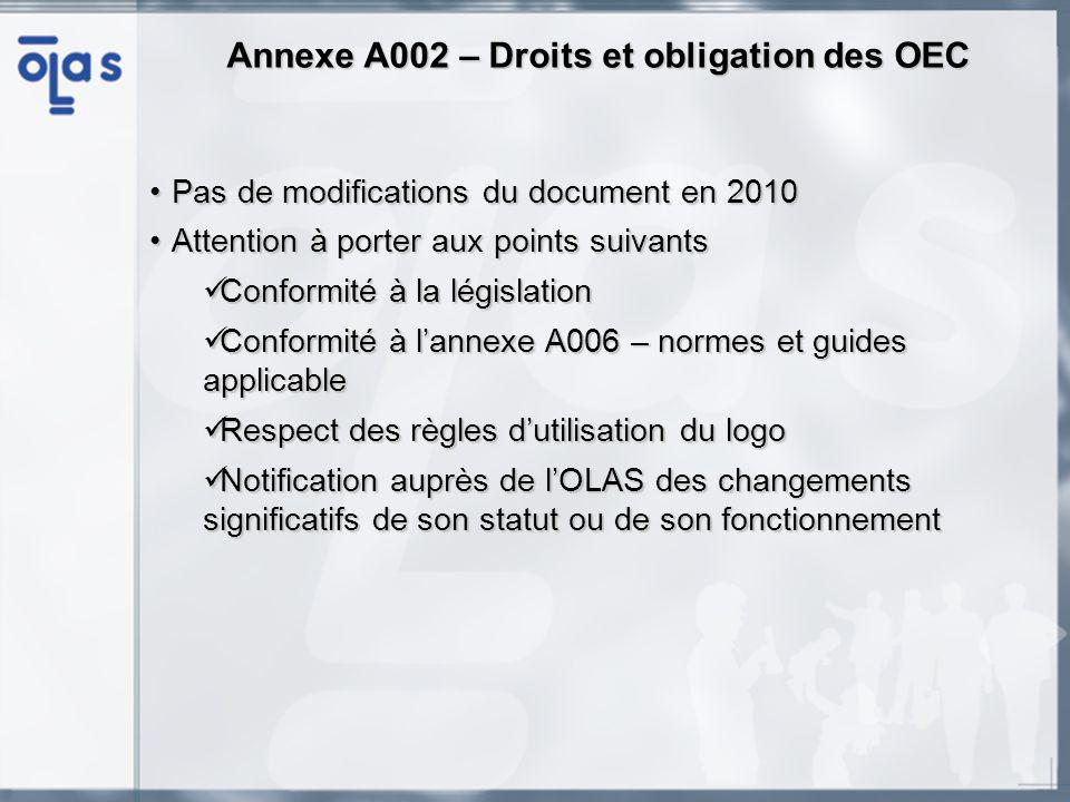 Annexe A002 – Droits et obligation des OEC Pas de modifications du document en 2010Pas de modifications du document en 2010 Attention à porter aux poi
