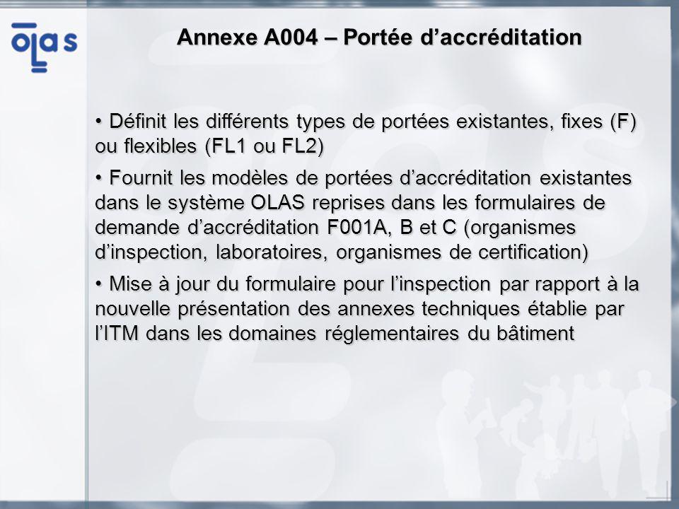 Définit les différents types de portées existantes, fixes (F) ou flexibles (FL1 ou FL2)Définit les différents types de portées existantes, fixes (F) ou flexibles (FL1 ou FL2) Fournit les modèles de portées daccréditation existantes dans le système OLAS reprises dans les formulaires de demande daccréditation F001A, B et C (organismes dinspection, laboratoires, organismes de certification)Fournit les modèles de portées daccréditation existantes dans le système OLAS reprises dans les formulaires de demande daccréditation F001A, B et C (organismes dinspection, laboratoires, organismes de certification) Mise à jour du formulaire pour linspection par rapport à la nouvelle présentation des annexes techniques établie par lITM dans les domaines réglementaires du bâtimentMise à jour du formulaire pour linspection par rapport à la nouvelle présentation des annexes techniques établie par lITM dans les domaines réglementaires du bâtiment AnnexeA004 – Portée daccréditation Annexe A004 – Portée daccréditation