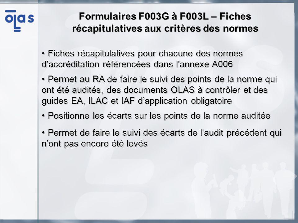 Formulaires F003G à F003L – Fiches récapitulatives aux critères des normes Fiches récapitulatives pour chacune des normes daccréditation référencées dans lannexe A006Fiches récapitulatives pour chacune des normes daccréditation référencées dans lannexe A006 Permet au RA de faire le suivi des points de la norme qui ont été audités, des documents OLAS à contrôler et des guides EA, ILAC et IAF dapplication obligatoirePermet au RA de faire le suivi des points de la norme qui ont été audités, des documents OLAS à contrôler et des guides EA, ILAC et IAF dapplication obligatoire Positionne les écarts sur les points de la norme auditéePositionne les écarts sur les points de la norme auditée Permet de faire le suivi des écarts de laudit précédent qui nont pas encore été levésPermet de faire le suivi des écarts de laudit précédent qui nont pas encore été levés