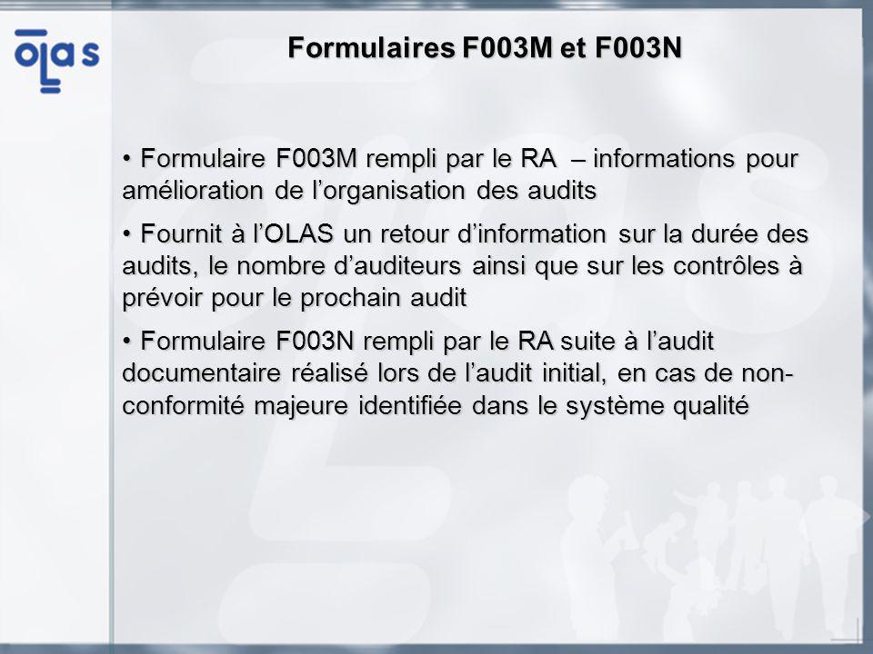Formulaires F003M et F003N Formulaire F003M rempli par le RA – informations pour amélioration de lorganisation des auditsFormulaire F003M rempli par le RA – informations pour amélioration de lorganisation des audits Fournit à lOLAS un retour dinformation sur la durée des audits, le nombre dauditeurs ainsi que sur les contrôles à prévoir pour le prochain auditFournit à lOLAS un retour dinformation sur la durée des audits, le nombre dauditeurs ainsi que sur les contrôles à prévoir pour le prochain audit Formulaire F003N rempli par le RA suite à laudit documentaire réalisé lors de laudit initial, en cas de non- conformité majeure identifiée dans le système qualitéFormulaire F003N rempli par le RA suite à laudit documentaire réalisé lors de laudit initial, en cas de non- conformité majeure identifiée dans le système qualité