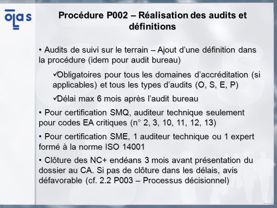 Formulaires F002A, B – Demande dinscription des auditeurs Formulaires de demande dinscription pour les auditeurs qualité (A) et les auditeurs techniques et experts (B)Formulaires de demande dinscription pour les auditeurs qualité (A) et les auditeurs techniques et experts (B) A remplir et à retourner à lOLAS pour toute demande dinscriptionA remplir et à retourner à lOLAS pour toute demande dinscription Ne pas oublier de signer le code de déontologie et denvoyer les documents nécessaires pour apporter les preuves des compétences et des qualifications en relation avec la demande (CV, diplômes, certificats de formation, tableau de participation aux audits)Ne pas oublier de signer le code de déontologie et denvoyer les documents nécessaires pour apporter les preuves des compétences et des qualifications en relation avec la demande (CV, diplômes, certificats de formation, tableau de participation aux audits) Pour une réinscription, il nest plus nécessaire denvoyer le F002A ou B à jour.