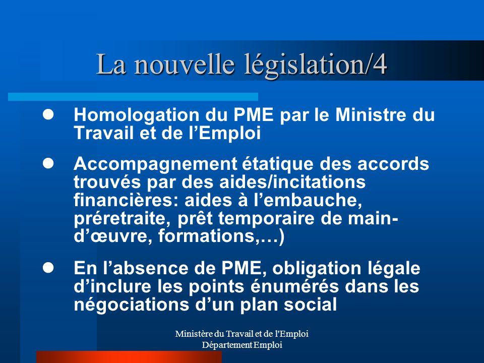 Ministère du Travail et de l'Emploi Département Emploi La nouvelle législation/4 Homologation du PME par le Ministre du Travail et de lEmploi Accompag