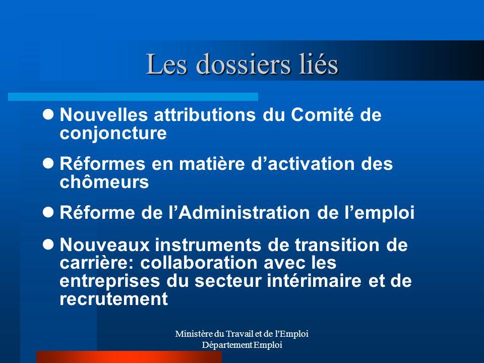 Ministère du Travail et de l'Emploi Département Emploi Les dossiers liés Nouvelles attributions du Comité de conjoncture Réformes en matière dactivati